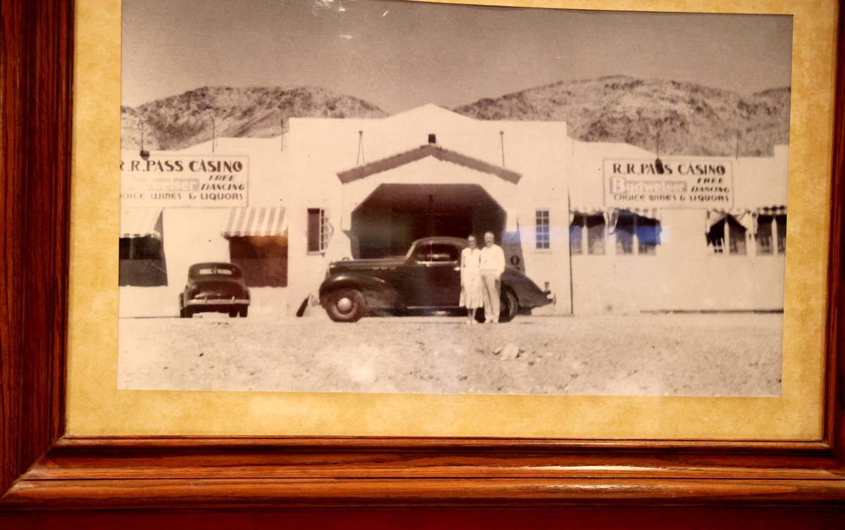 A circa 1938-1939 historical photo on the wall at Railroad Pass casino in Henderson Monday, Jul ...