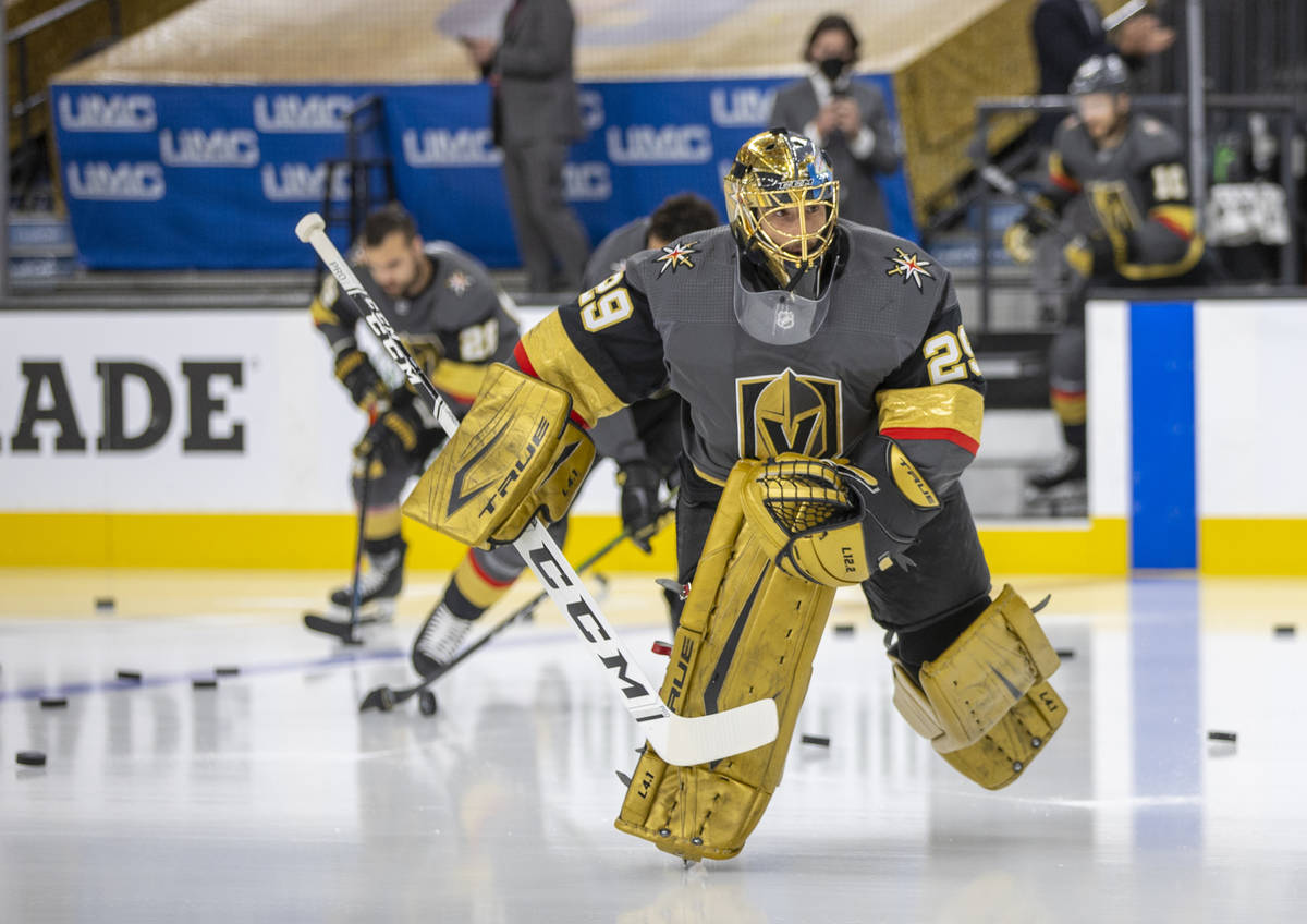 Golden Knights goaltender Marc-Andre Fleury (29) takes the ice during warm ups before the first ...