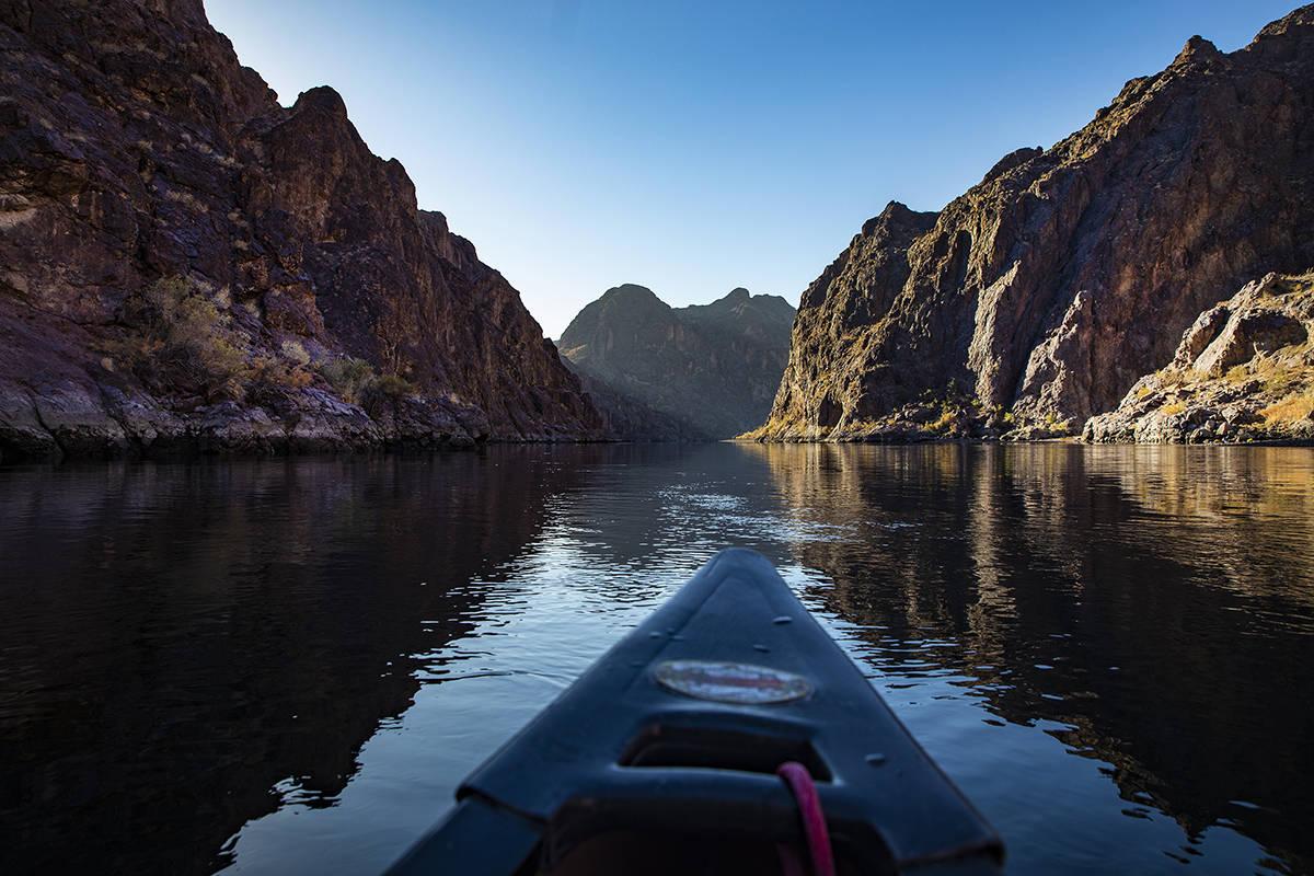 The Colorado River near the Hoover Dam in Boulder City, Saturday, Dec. 5, 2020. (Rachel Aston/L ...
