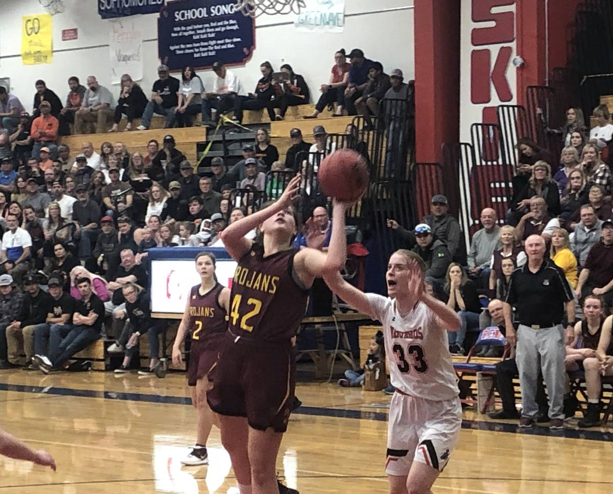 Jason Orts/Las Vegas Review-Journal Kathryn Daffer goes up for a shot against Fernley in Pahrum ...