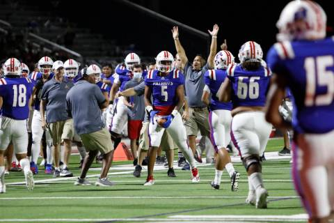 Liberty High School Anthony Jones (5) celebrates his touchdown during the first half of a footb ...