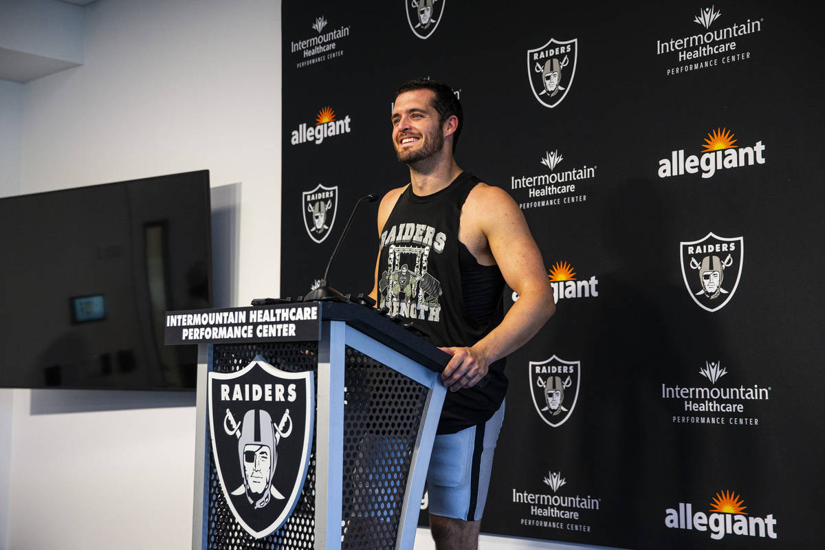 Raiders quarterback Derek Carr responds to questions from members of the media at Raiders Headq ...