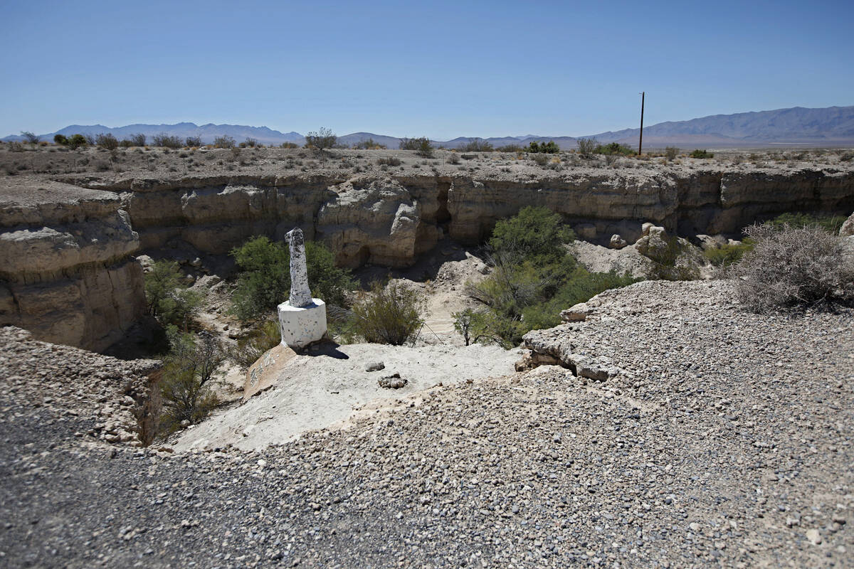 A statue of Christ without his head stands in Cathedral Canyon, outside of Pahrump, Thursday, S ...