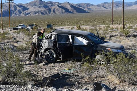 Special to the Pahrump Valley Times A Nye County Sheriff's Office deputy and an NHP Trooper exa ...