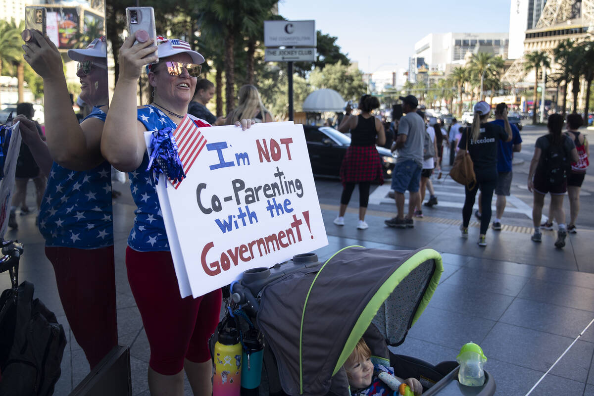 Tiffany Angin, who brought her 1-year-old son Evan Angin to an anti-mask, anti-vaccination and ...