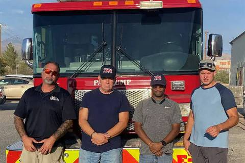 Special to the Pahrump Valley Times The team of four Pahrump Valley Fire and Rescue Services me ...