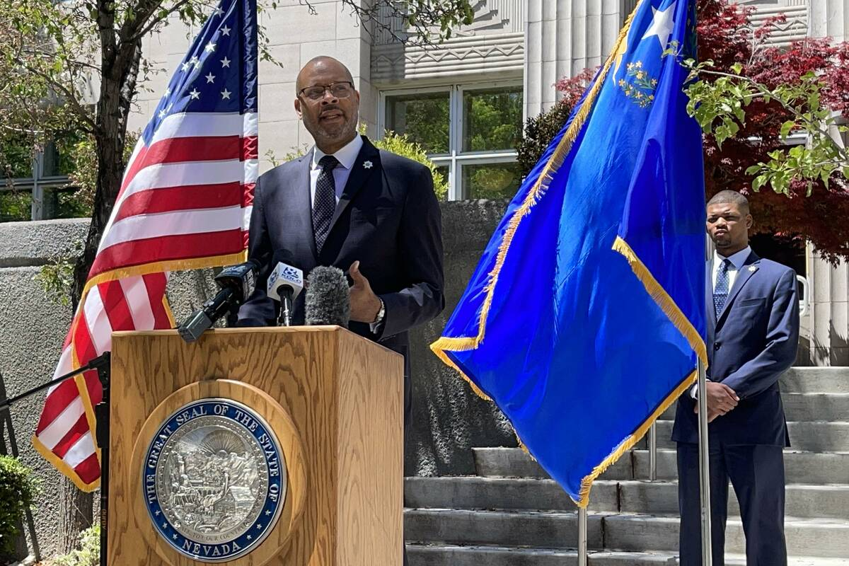 (Bill Dentzer/Las Vegas Review-Journal) Nevada Attorney General Aaron D. Ford joined a coalitio ...