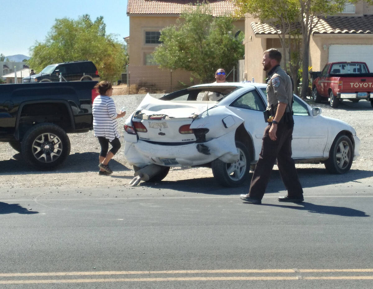 Selwyn Harris/Pahrump Valley Times Sheriff's deputies and fire crews were summoned to a two-veh ...