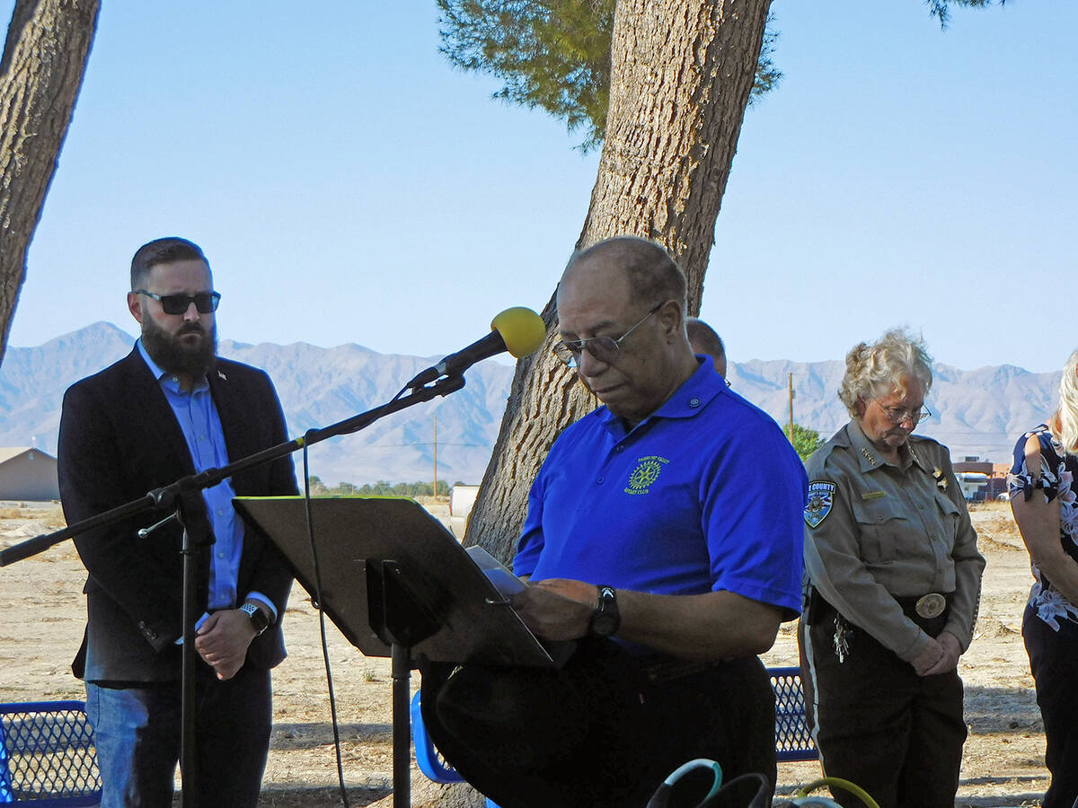 Robin Hebrock/Pahrump Valley Times Dr. Tom Waters, also a Rotarian and 9/11 Memorial Ceremony e ...