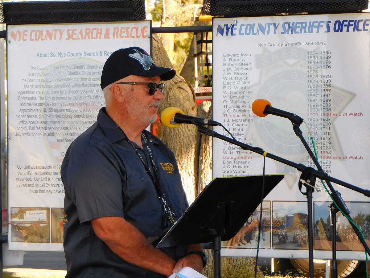 Robin Hebrock/Pahrump Valley Times Rotarian Roy Mankins speaks about the establishment of the F ...