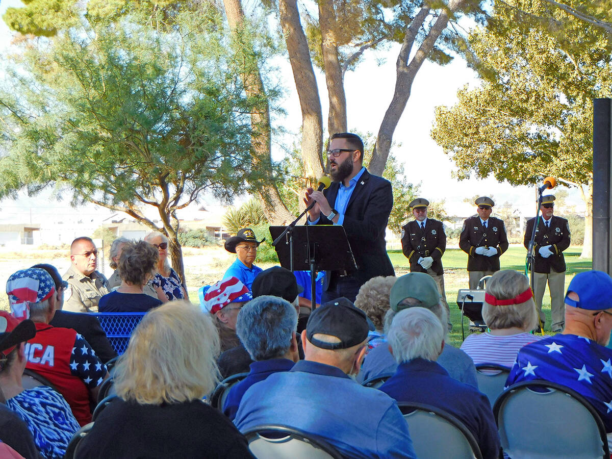 Robin Hebrock/Pahrump Valley Times Nevada Assemblyman Greg Hafen II addresses the audience at t ...