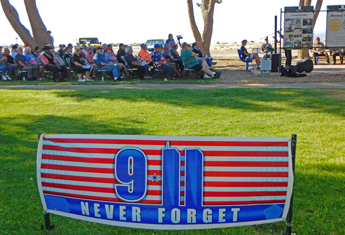 Robin Hebrock/Pahrump Valley Times A special banner was strung across the grass at the First Re ...