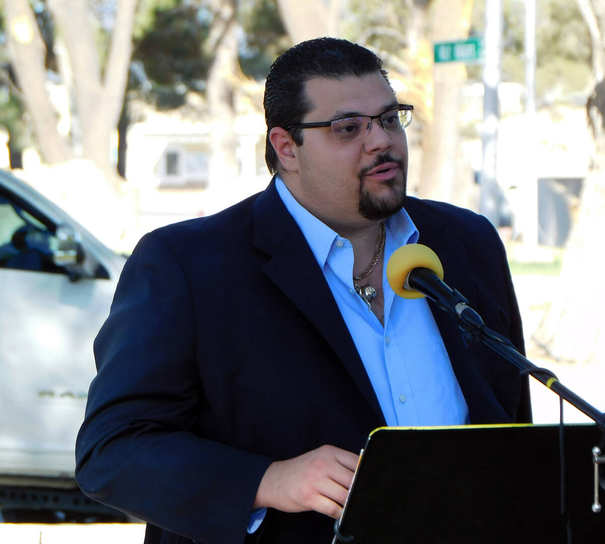 Robin Hebrock/Pahrump Valley Times Nye County Commissioner Leo Blundo offered a few words durin ...