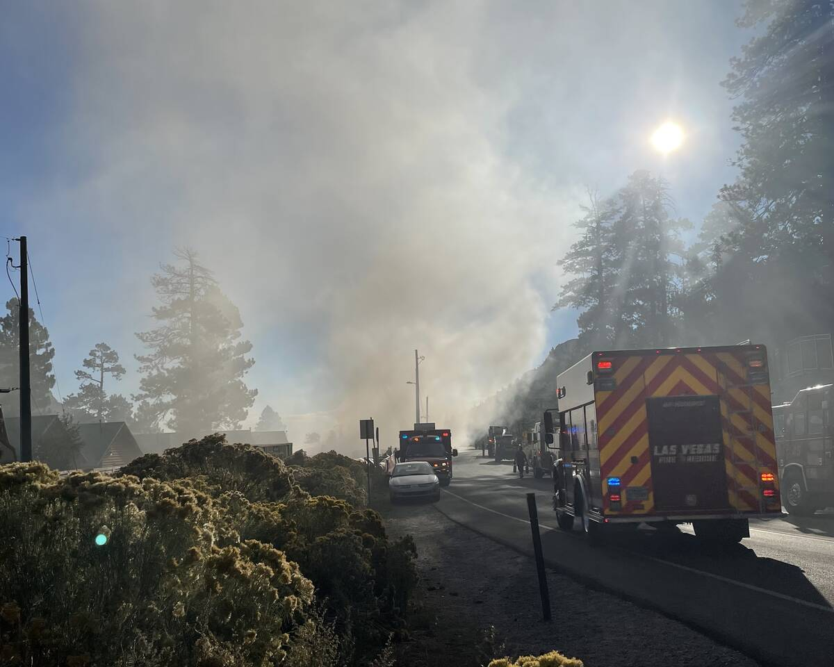 Emergency crews on the scene of a fire that damaged the lodge at Mount Charleston on Friday, se ...