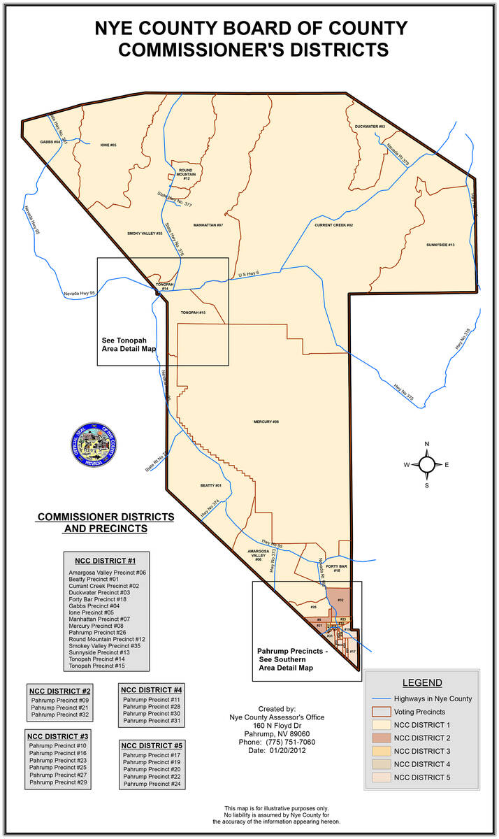 Special to the Pahrump Valley Times This map shows the current district boundaries for each of ...
