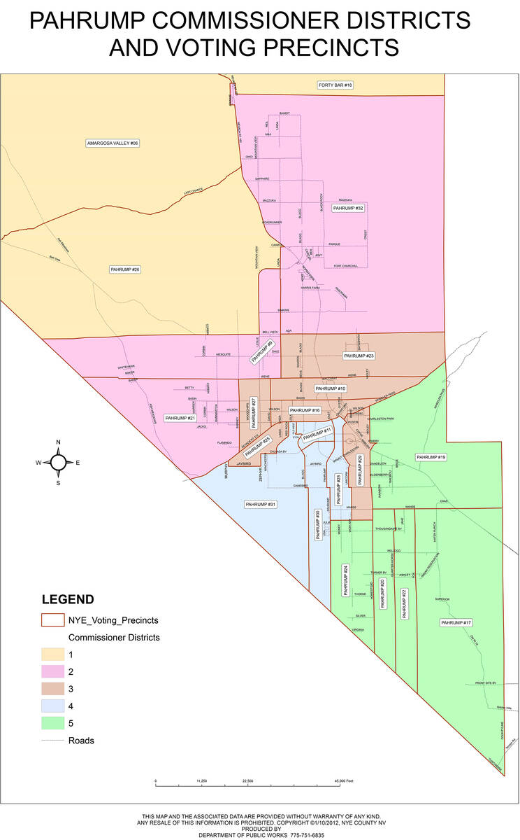 Special to the Pahrump Valley Times This map shows more detail on the borders of the four Nye C ...