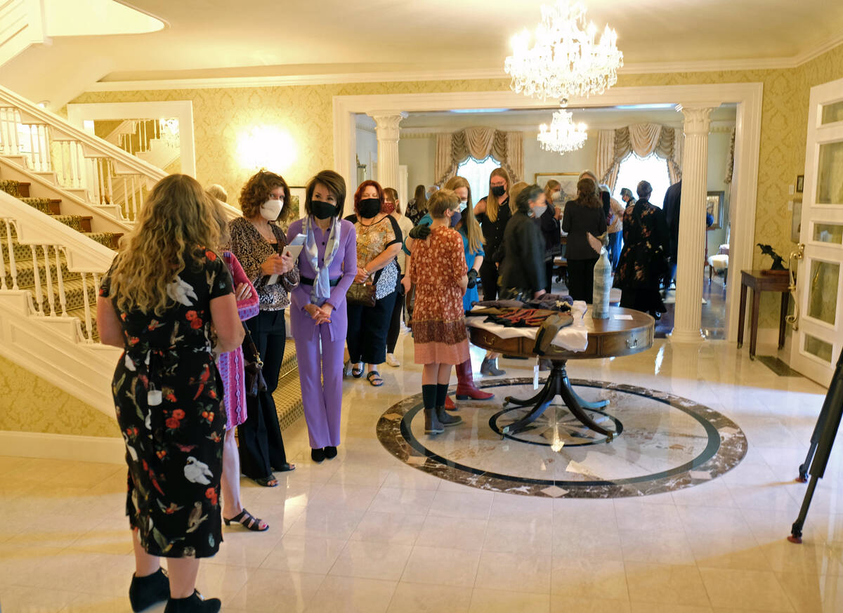 Bill Dentzer/Las Vegas Review-Journal First Lady Kathy Sisolak speaks to guests at an opening r ...