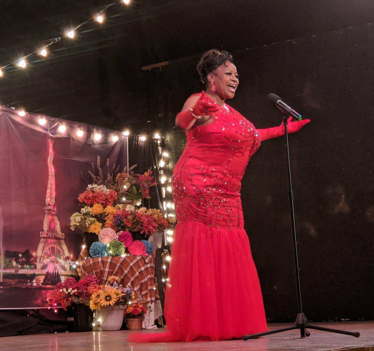 """Mark Moore/Special to the Pahrump Valley Times Brenda Fay Bolton, shown belting out """"At Last"""", ..."""