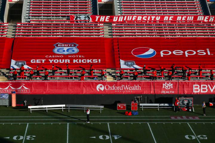 A view of the field at Sam Boyd Stadium as the New Mexico Lobos prepare for a home football gam ...