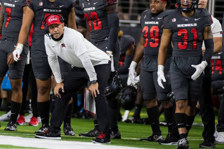 UNLV Rebels head coach Marcus Arroyo watches the game against Iowa State Cyclone during the sec ...
