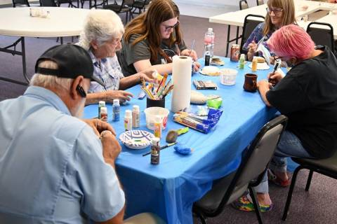 Richard Stephens/Special to the Pahrump Valley Times Members of the Beatty Rocks group paintin ...