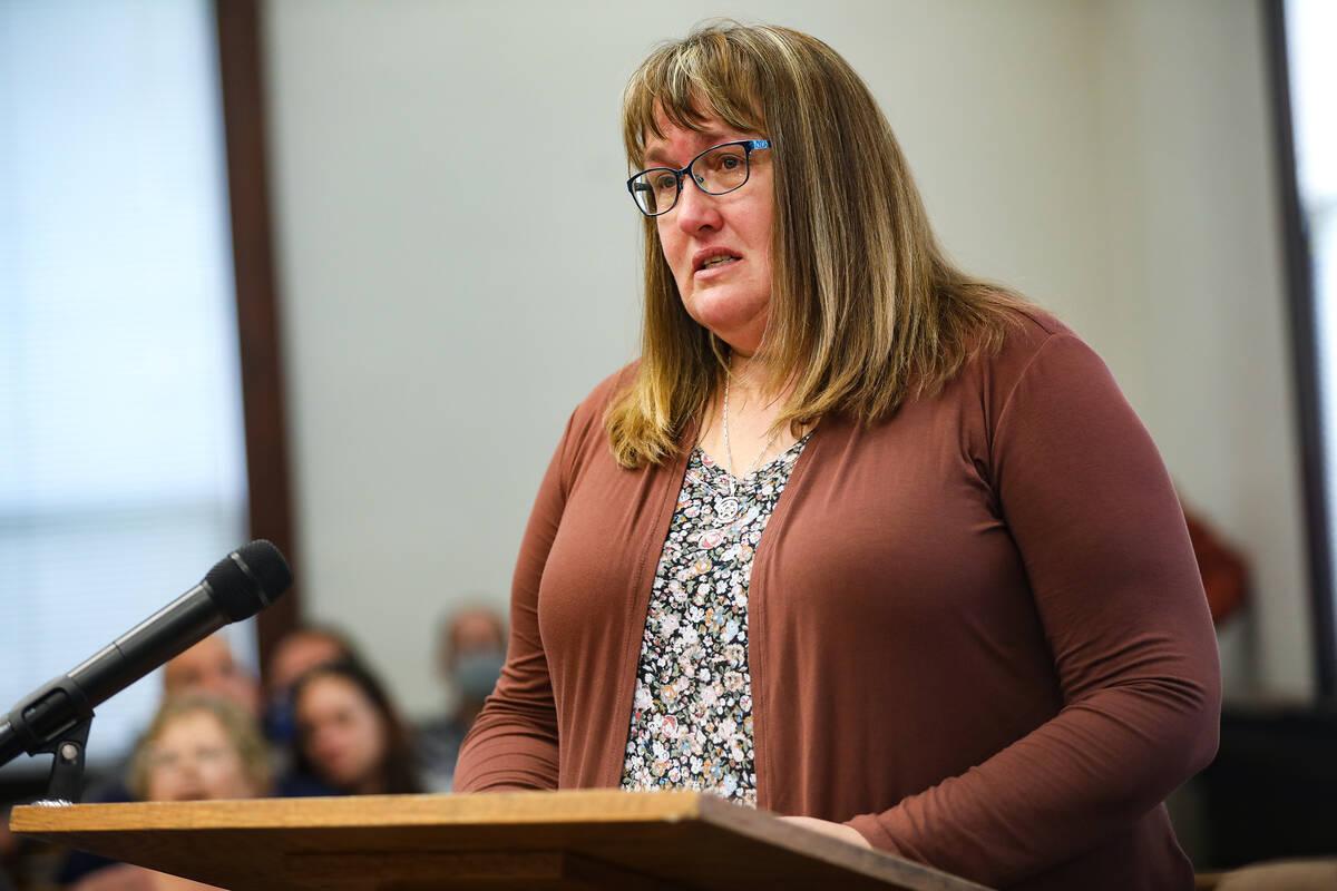 Jodi Jenkins, wife of slain Nevada Highway Patrol Sgt. Ben Jenkins, delivers her victim impact ...