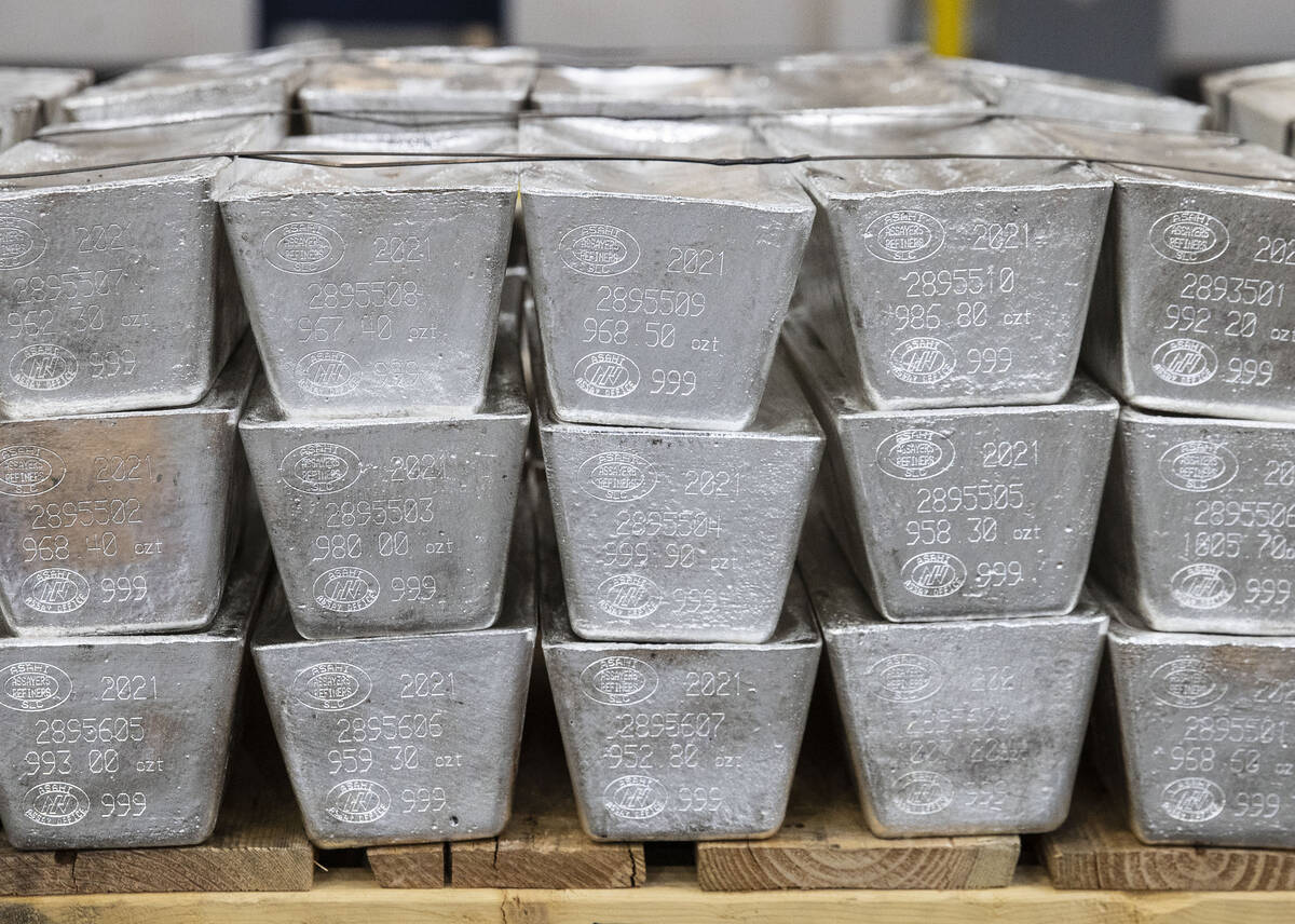 Stack of silver bars are displayed at Sunshine Minting during Gov. Sisolakճ visit, on Wednesda ...
