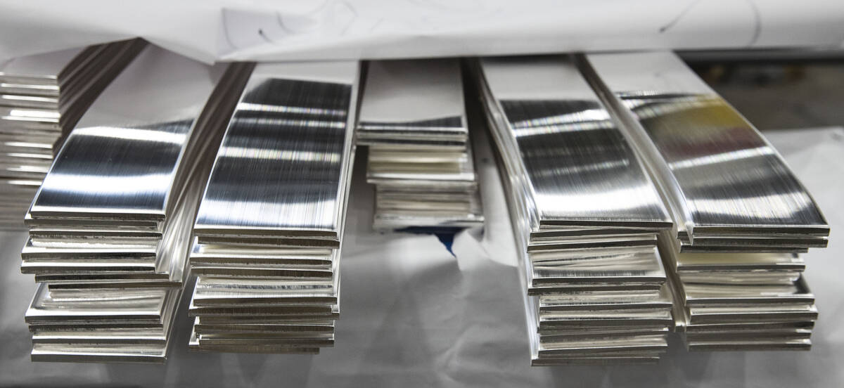 Stack of silver sheets metal are displayed at Sunshine Minting during Gov. Sisolakճ visit ...