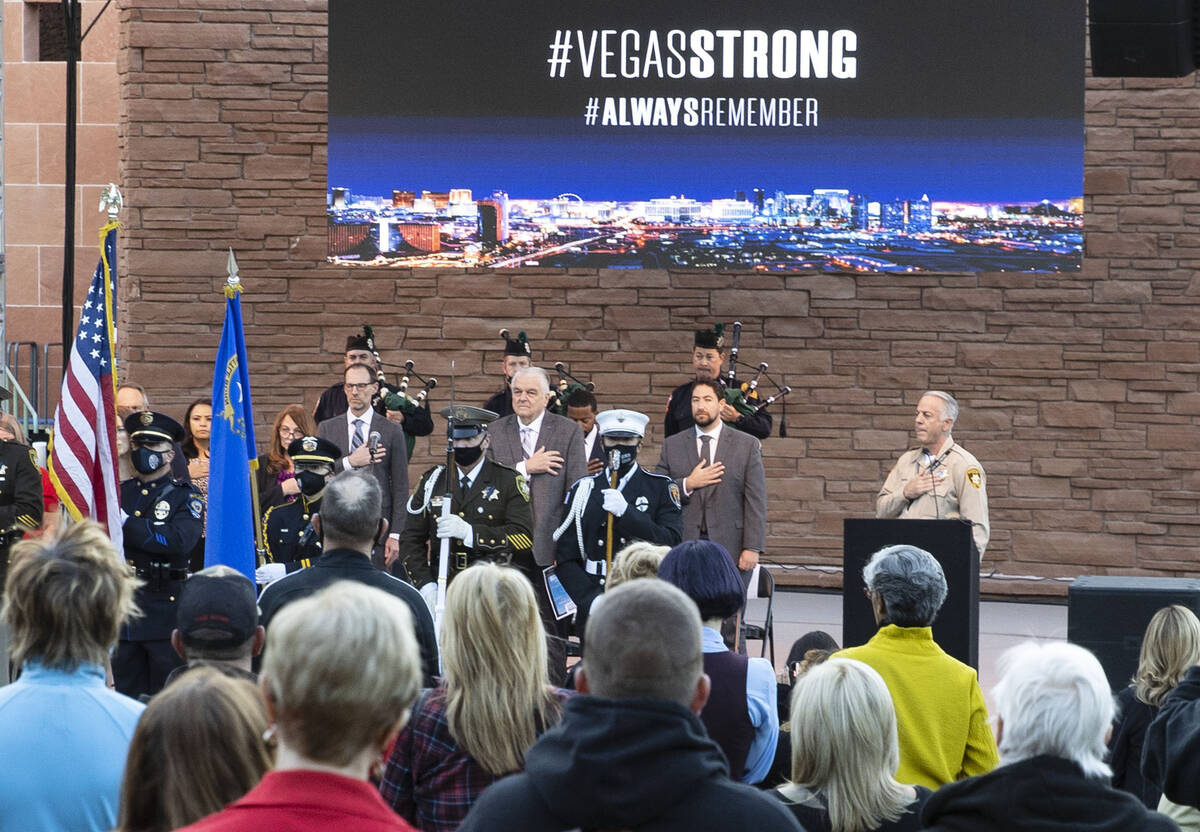 Families of Route 91 Harvest festival shooting victims and survivors attend the annual 1 Octobe ...