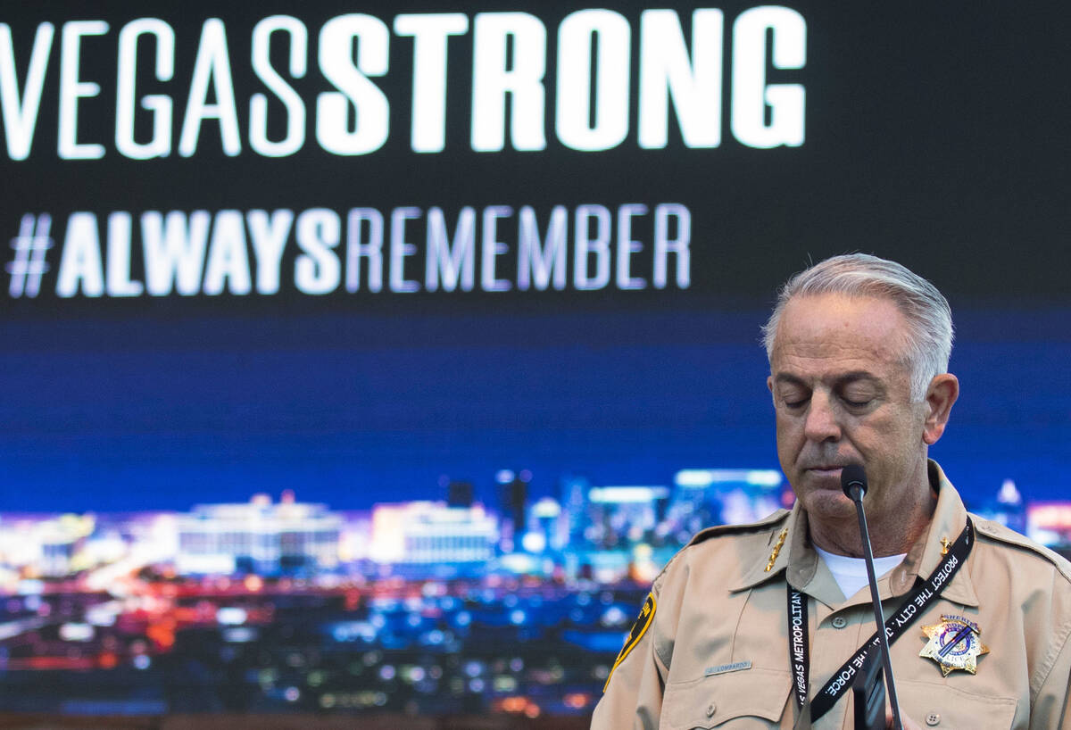 Clark County Sheriff Joe Lombardo pauses as he speaks during the annual 1 October Remembrance C ...