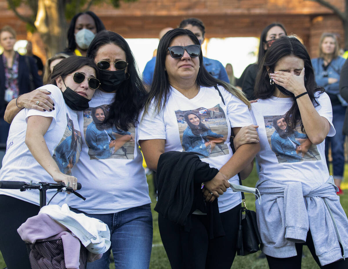 Sophia Ramirez, left, her mother Kaycee Meeks, and her sister Olivia Ramirez, right, attend the ...