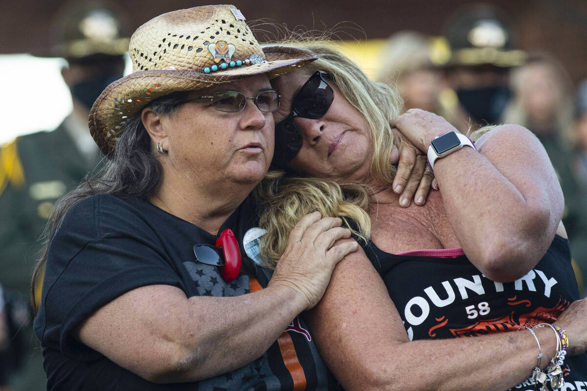 Route 91 Harvest festival shooting survivors Sue Ann Cornwell, left, of North Las Vegas, and Al ...