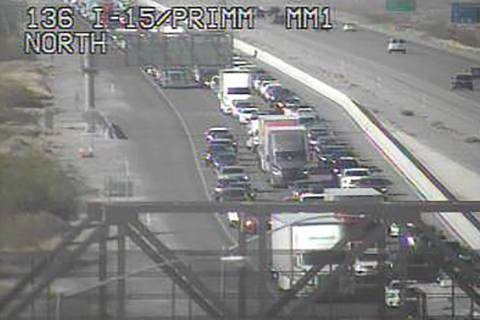 Heavy southbound traffic on Interstate 15 at Primm about 4:15 p.m. Sunday, May 23, 2021. (RTC F ...
