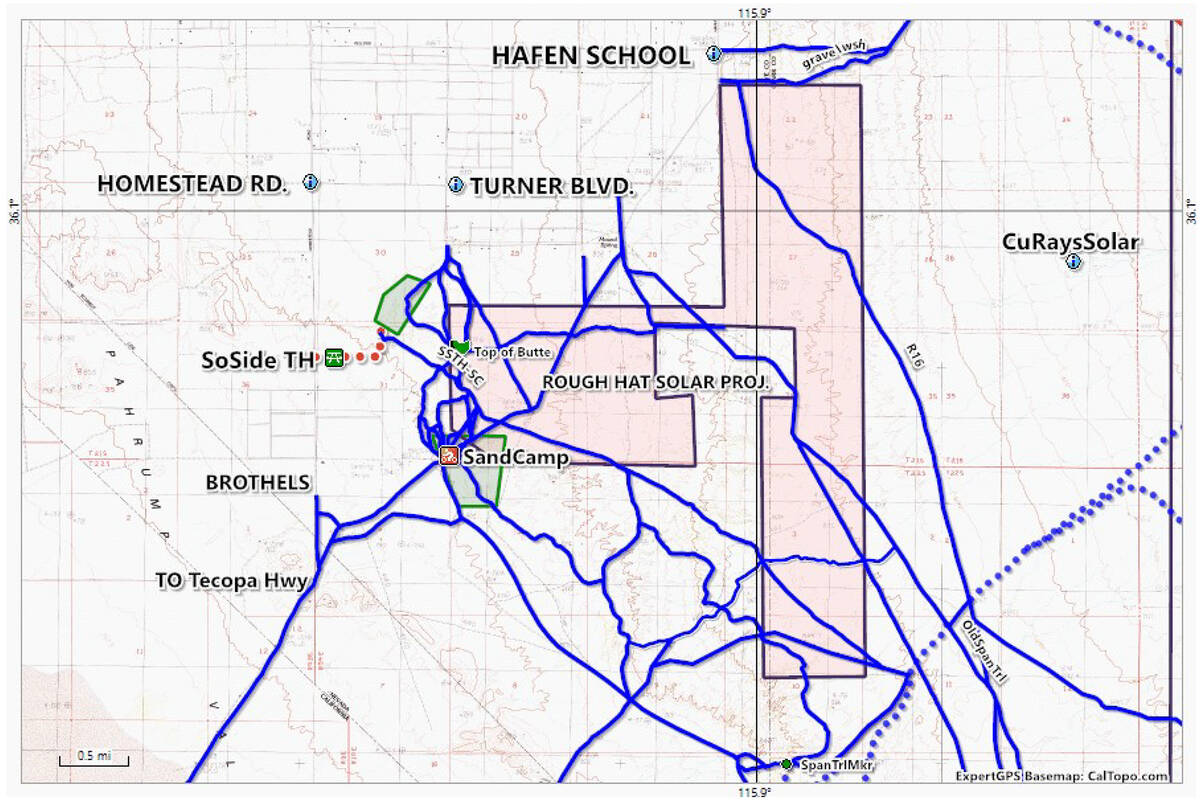 Special to the Pahrump Valley Times This map shows the proposed location for the Rough Hat Nye ...