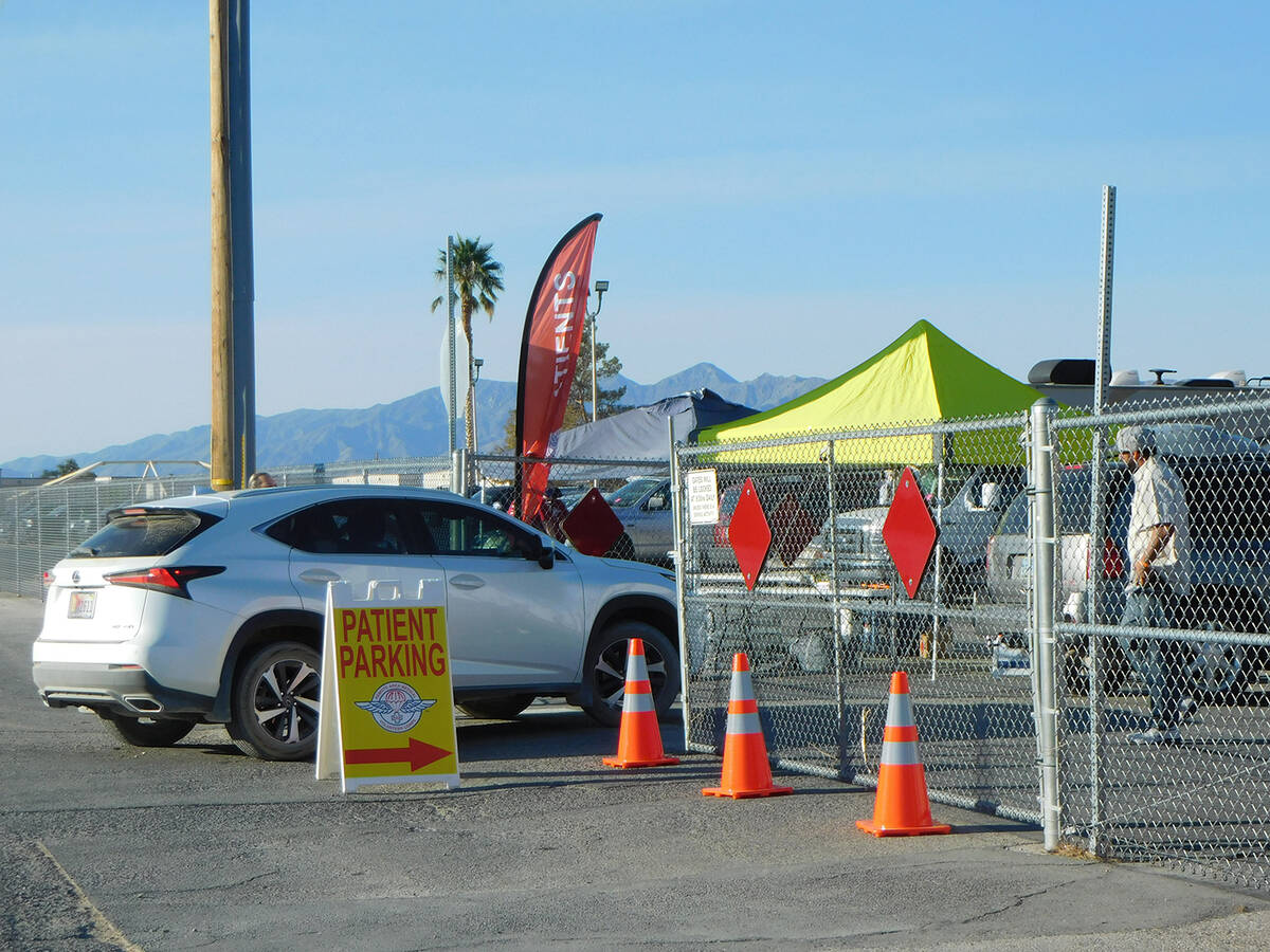 Robin Hebrock/Pahrump Valley Times There was brightly colored signage and cones set out to help ...