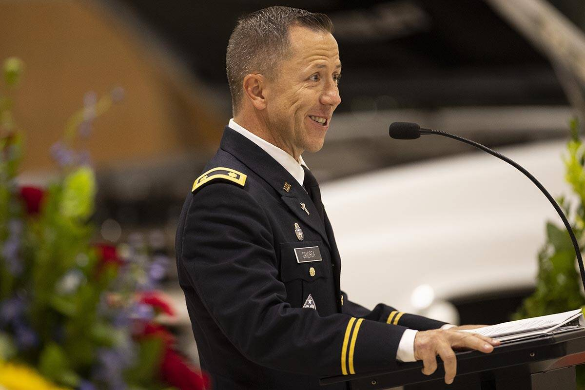 Nevada National Guard Chaplain Troy Dandrea speaks during a ceremony to honor the memory of Nev ...