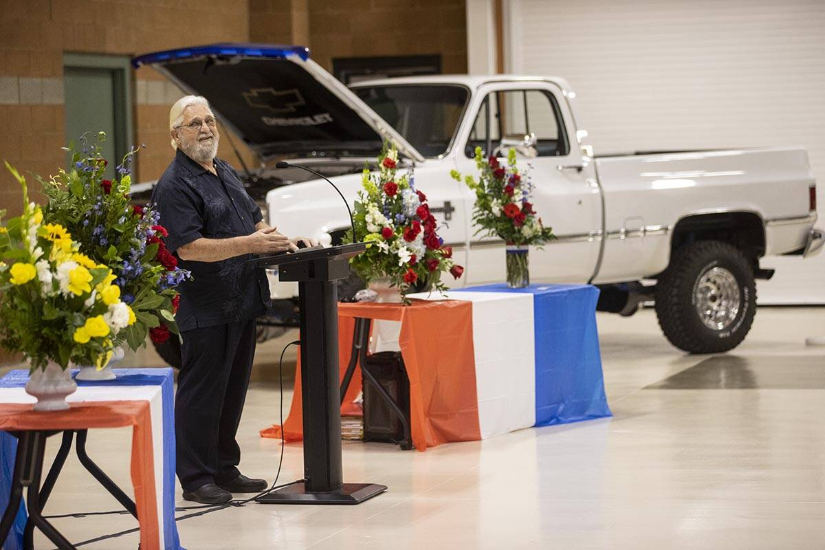 Bill Rose speaks during a ceremony to honor the memory of his best friend, Nevada Army National ...