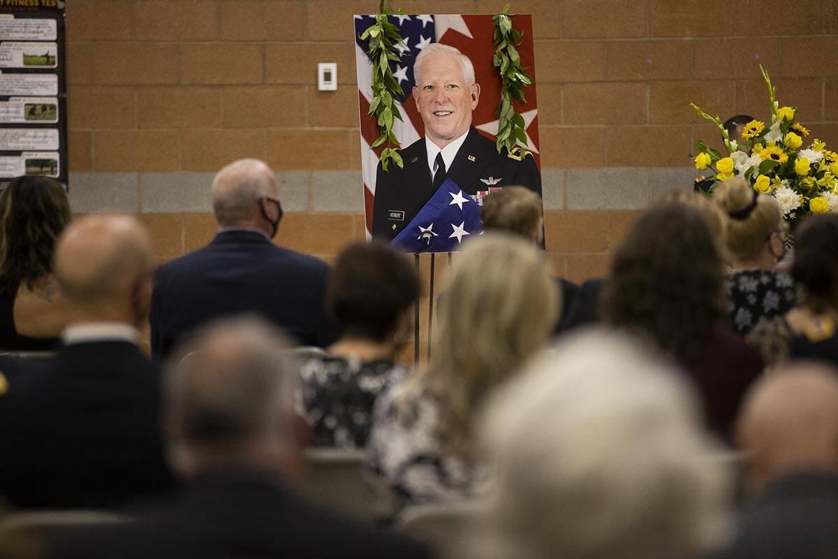 "A photograph of Nevada Army National Guard Maj. Gen. Robert ""Bob"" Herbert is displaye ..."