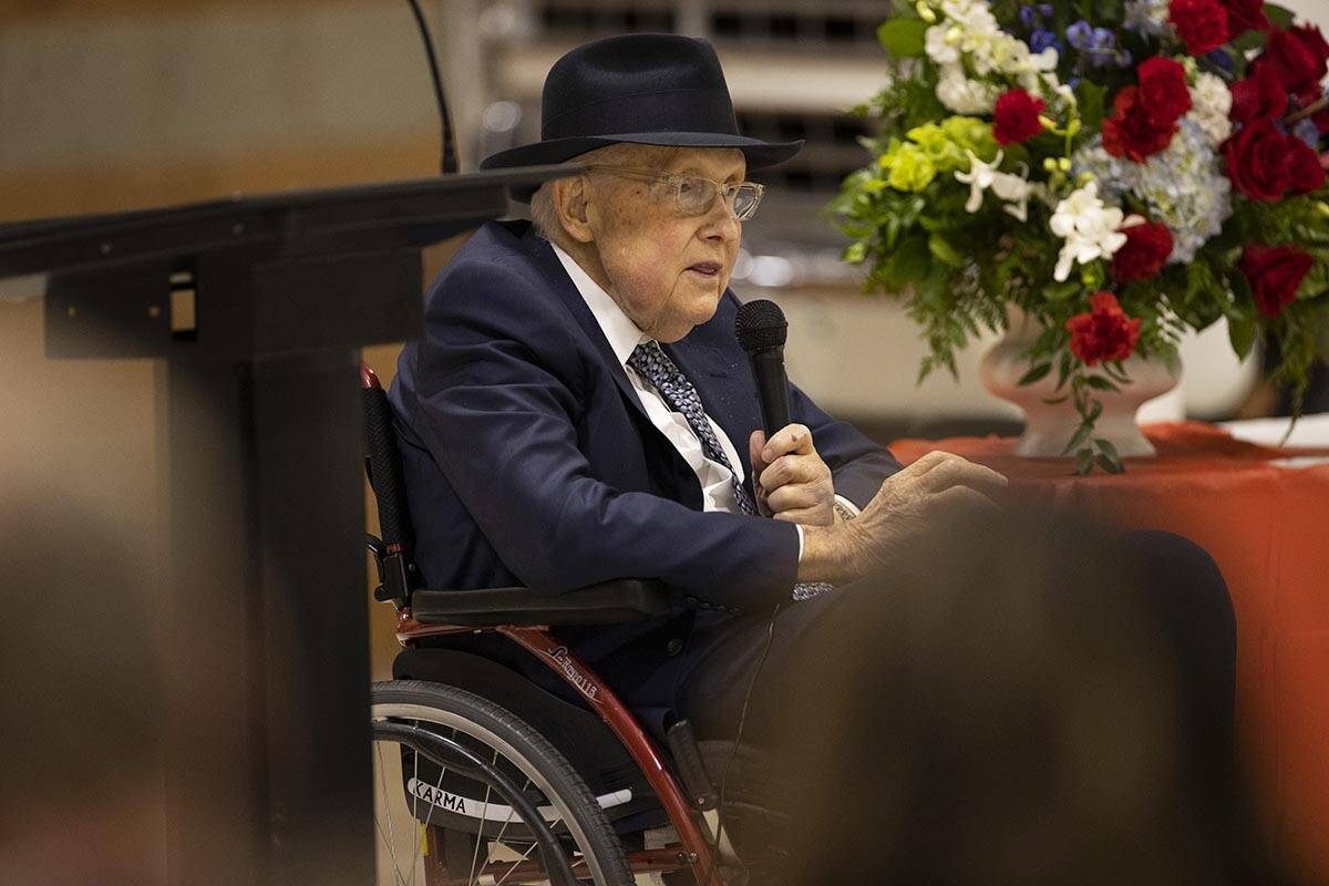Former Nevada Senator Harry Reid speaks during a ceremony to honor the memory of Nevada Army Na ...
