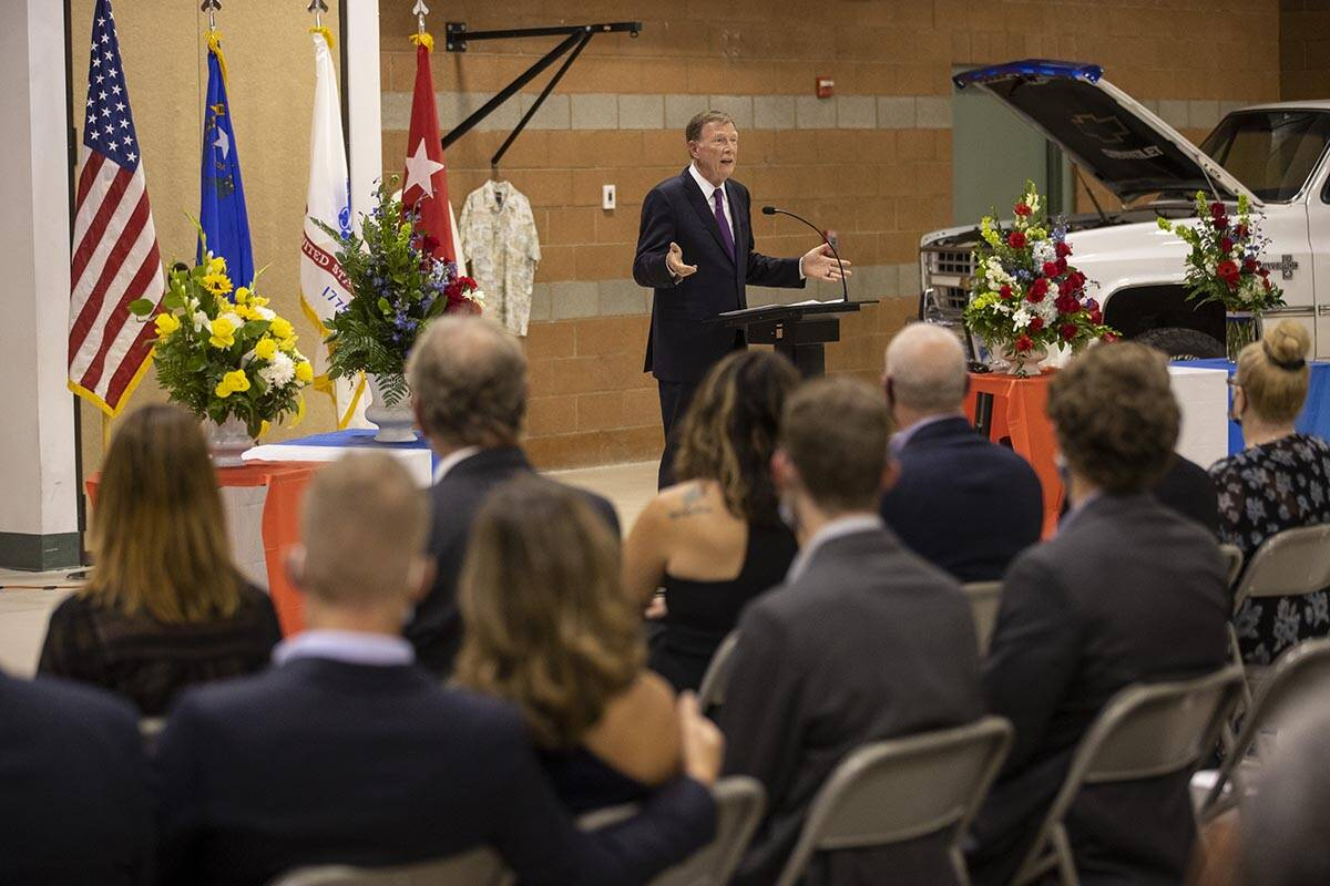 The Honorable Jon Porter speaks during a ceremony to honor the memory of Nevada Army National G ...