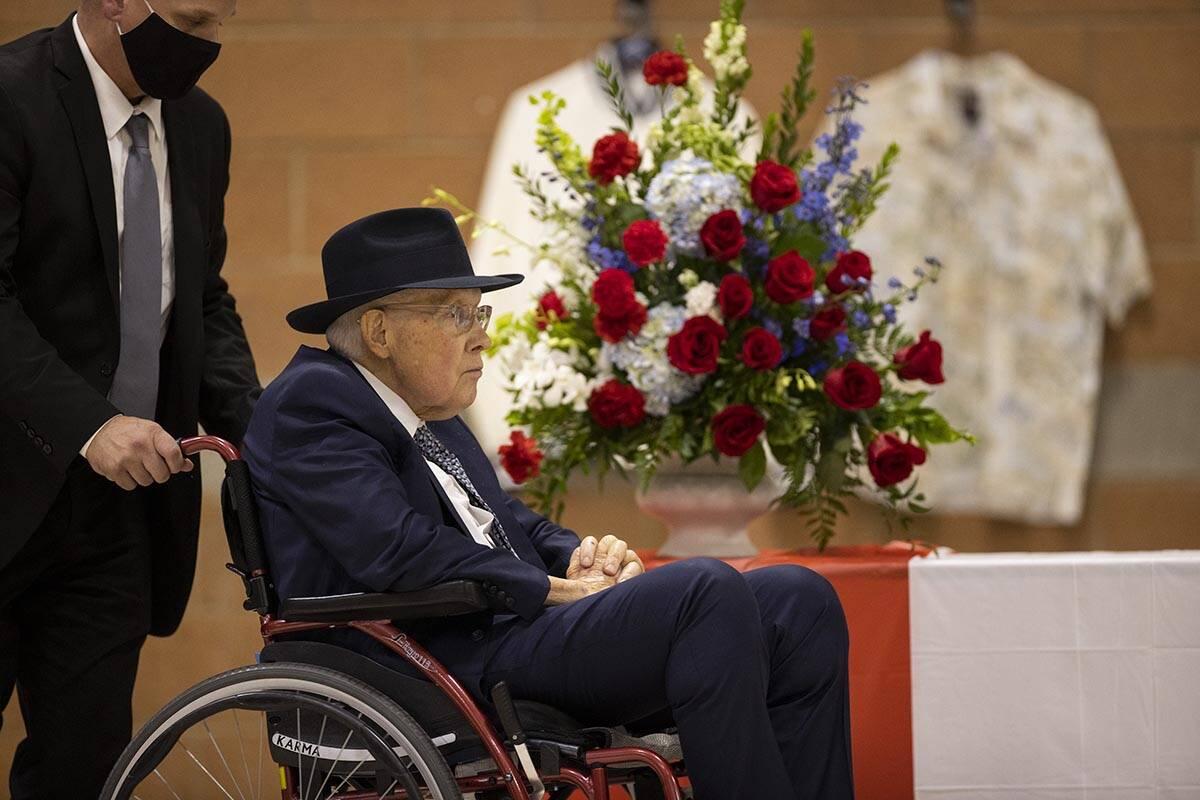Former Nevada Senator Harry Reid attends a ceremony to honor the memory of Nevada Army National ...