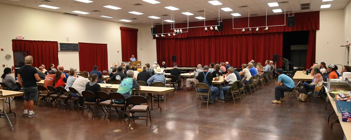 Richard Stephens/Special to the Pahrump Valley Times Locals listen to developer Ed Ringle duri ...