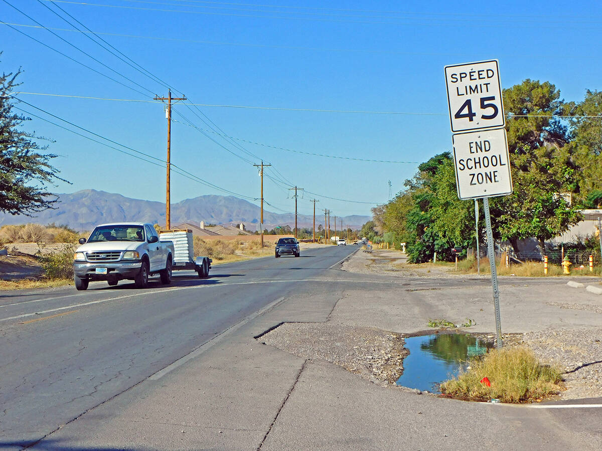 Robin Hebrock/Pahrump Valley Times Wilson Road in Pahrump is now a 45-mile-per-hour street, wit ...