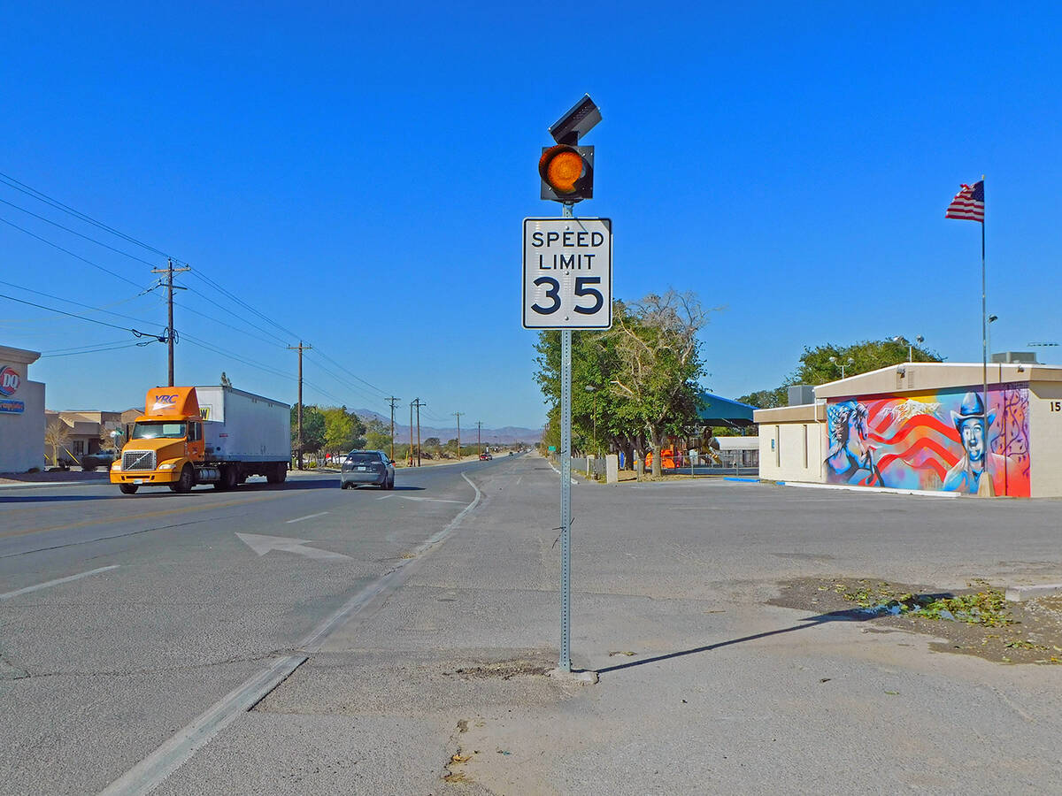 Robin Hebrock/Pahrump Valley Times The speed limit in front of Petrack Park and the Bob Ruud Co ...