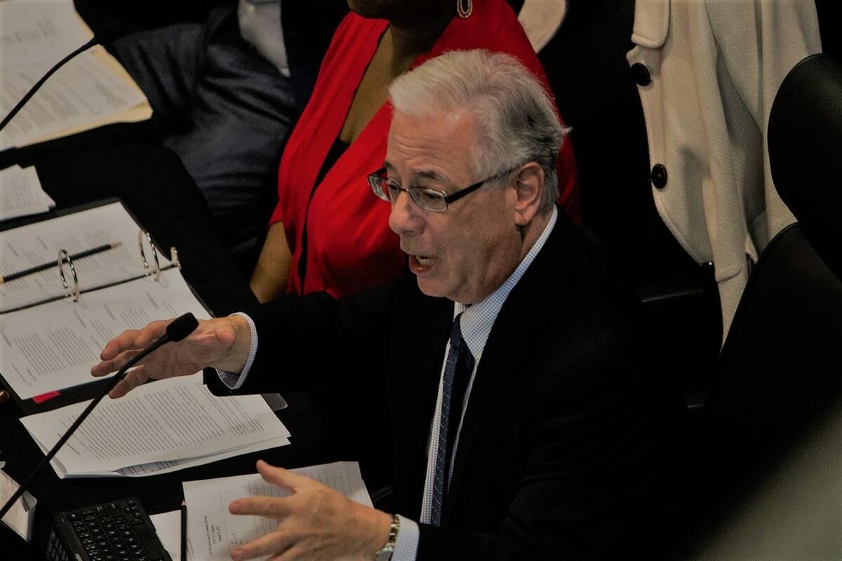 Regent Dean Gould speaks during a meeting in North Las Vegas in January 2018. (Rachel Aston/Las ...