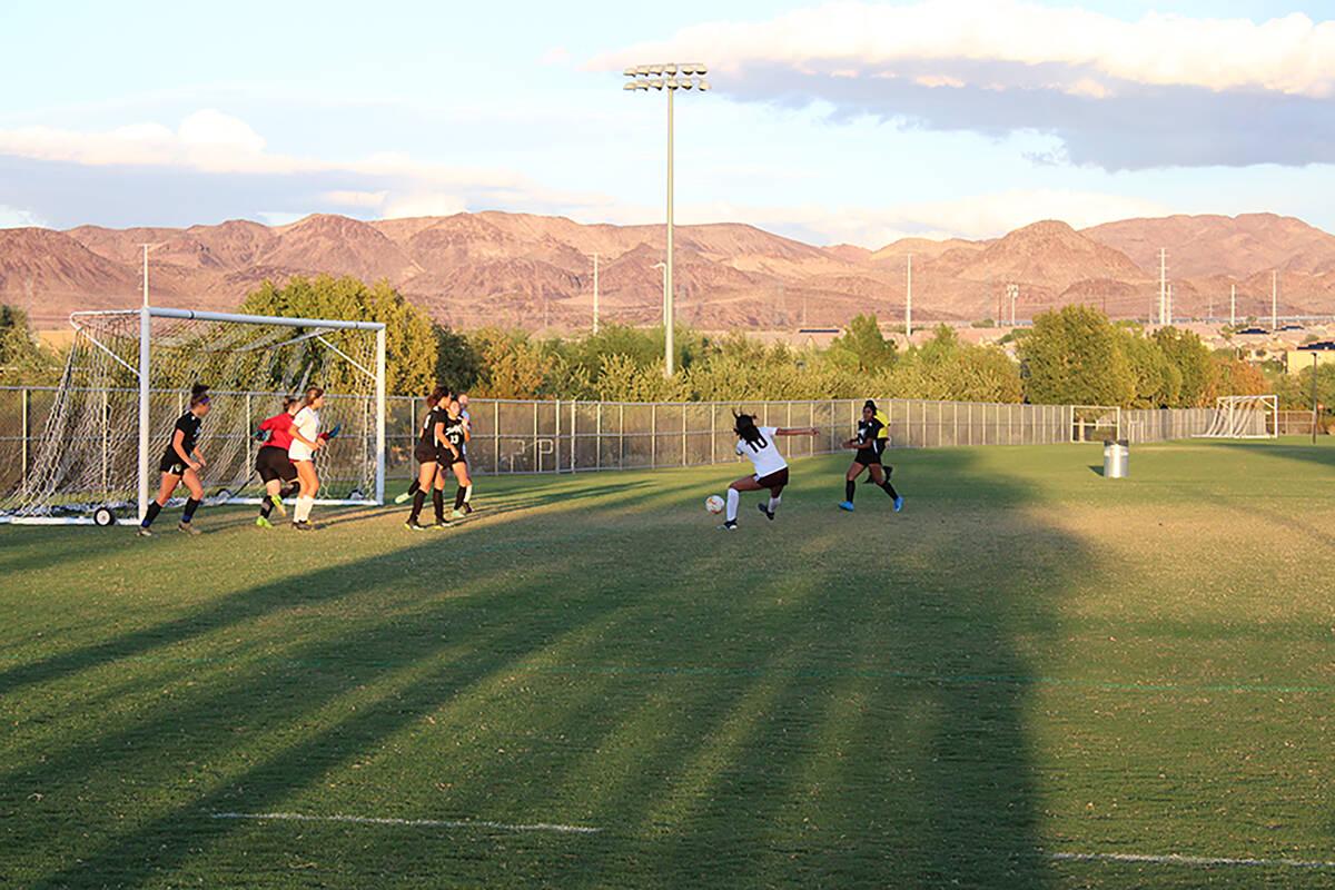 Danny Smyth/Pahrump Valley Times Trojans girls soccer player Kailani Martinez scores a goal du ...