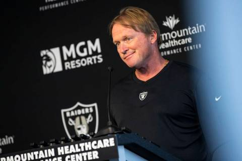 Chase Stevens/Las Vegas Review-Journal Raiders head coach Jon Gruden responds to questions from ...