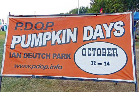 Robin Hebrock/Pahrump Valley Times Signs announcing the upcoming 12th Annual PDOP Pumpkin Days ...