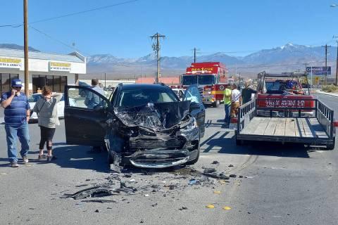 Selwyn Harris/Pahrump Valley Times Despite the major damage to both vehicles, no serious injuri ...