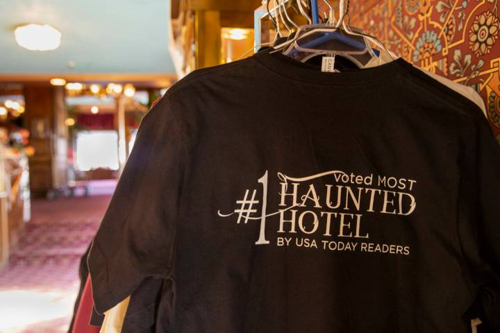 """T-shirts for sale in the lobby stating the Mizpah Hotel in Tonopah, Nevada, was voted as the """"# ..."""